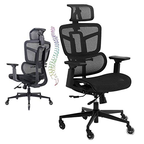 Ergonomic Office Chair, High Back Mesh Desk Chair Big Computer Chair with 4D Armrests Adjustable Lumbar Support Headrest Swivel Executive Rolling Task Chair for Conference Home Office Adults