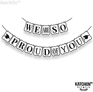 We are So Proud of You Banner - Beautiful Graduation Banner - No-DIY Required | Graduation Decorations for Graduations Party Supplies 2019, Grad Party Decor for Home of Prom Decorations, White. Large