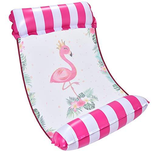 WERNNSAI Erwachsene Aufblasbares Schwimmbett - Flamingo Loungesessel Pool Lounge Wasser Hängematte Rosa Luftmatratze schwimm Lounge poolmatratze