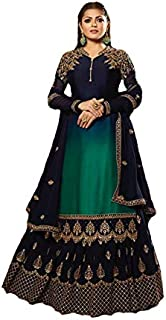Women's Satin Georgette Fabric Heavy Embroidered and Diamond Work Lehenga Suit (LNF423, Multicolour)