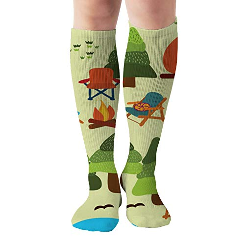 Camping Scene Caravan Chairs Fire Parks Outdoor Camp Compression Socks Women And Men,Best For Nurses,Travel,Pregnancy,19.68 Inch
