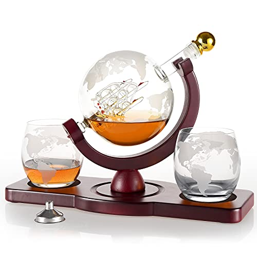 Gifts for Men, Whiskey Decanter Set with 2 Etched Globe Glasses, Unique House Warming Anniversary Birthday Gift for Husband Him Boyfriend Dad Women, Man Cave Presents Cool Gadgets for Liquor Bourbon