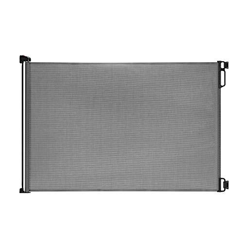 Yppss EasyBaby Products - Cancello retrattile per interni ed esterni, altezza 83,8 cm, si estende fino a 139,7 cm di larghezza, nero eterno (colore: grigio)