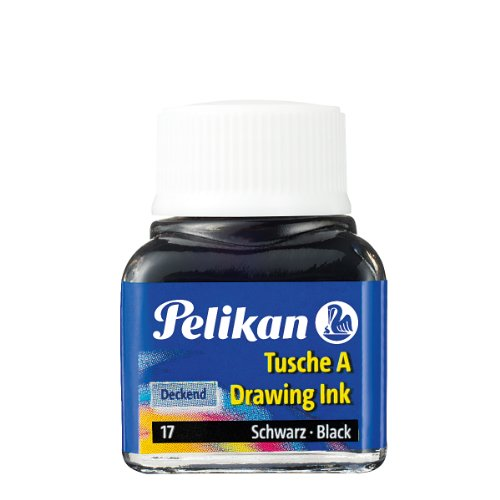 Pelikan 201665 Inchiostro China 523-17, Nero Perla, 10 ml in Vetro, Utilizzabile su Carta, Cartoncini da Disegno e Film Opacizzati