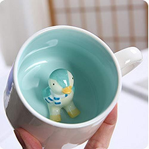 Taza de cerámica creativa de mono pequeño 3D, taza de café con leche de una sola capa de dibujos animados de pollo lindo, taza de desayuno de pingüino pequeño C