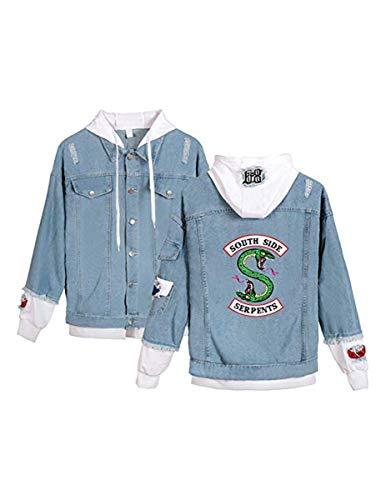 FAIRYRAIN Riverdale Southside Serpents Denim Jacket Coole Jeansjacke für Teenager Mädchen Herbst und Winterjacke Kapuzen Sweatshirt Jäckchen Damen Hoodie Jeansjacke 4XL