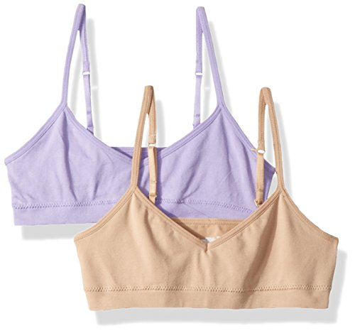 Hanes Big Girl's ComfortFlex Seamless Bralette 2-Pack Bra, Salty Purple/Nude, X Large
