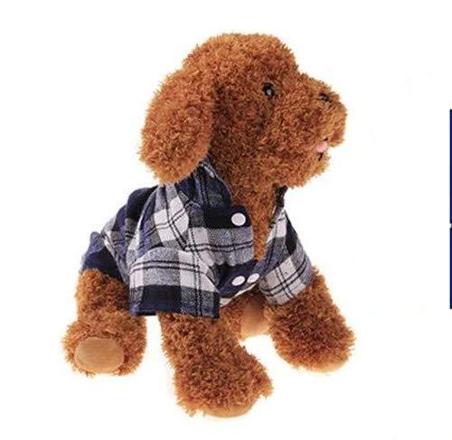 DACHENGJIN Ropa de Verano Ropa para Perros Mascotas para Perros pequeños Moda algodón Gato Perro a Cuadros Camisa, Tamaño: L (Verde) (Color : Blue)