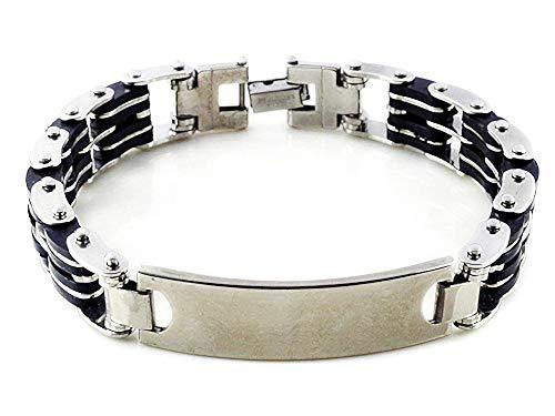 Heren armband - heren - ketting - armband - siliconen - roestvrij staal - zwart zilver - origineel geschenkidee