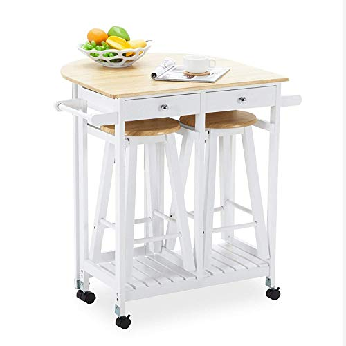 Mecor Drop Leaf Cart, 3PCS Wood Kitchen Rolling Casters with 2 Stools and 2...