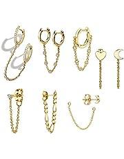 7 piezas de la cadena pendientes del aro de plata de ley 925 borla de la cadena gota cuelgan el pequeño aro Pendientes Anilla para la Mujer adolescente