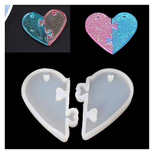 Changskj Resin Molds 2Pcs Heart locks for lovers Pendant Liquid Silicone Mold DIY Epoxy Resin Mould Tools