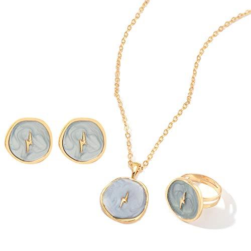 WOWOWO 3 Piezas Esmalte Estrella Luna corazón Disco Redondo Colgante Collar Anillo Pendiente Conjunto de Joyas