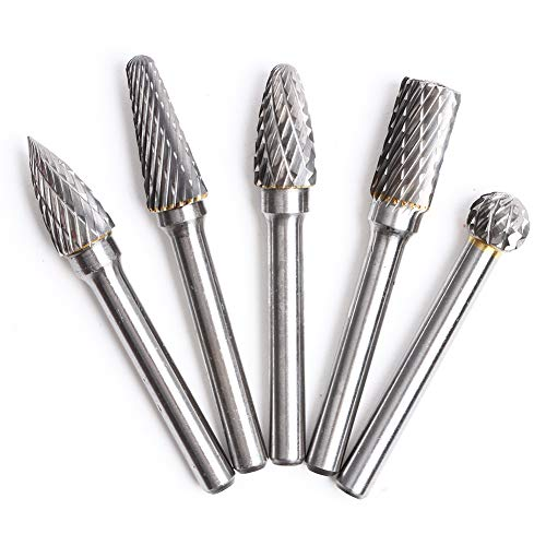 5 Pcs Tungsten Carbide Rotary Burrs Set 8mm Tungsten Steel Double Cut Rotary Files Point Burrs Die Grinder Drill for Rotary Drill Bit Die Grinder