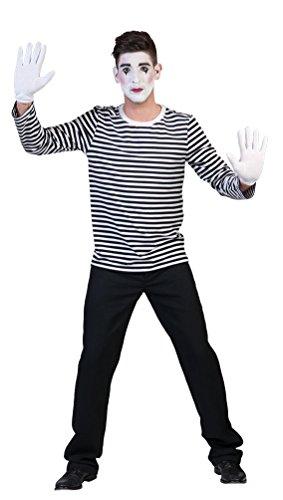 Karneval-Klamotten Clown Pantomime Kostüm Damen Herren Mime-Artist Ringelpulli schwarz-weiß gestreift Größe 60/62