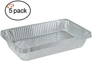 Tiger Chef 5-Pack Durable Aluminum Foil Steam Table Pans Full Size, Disposable 21 x 13 inches