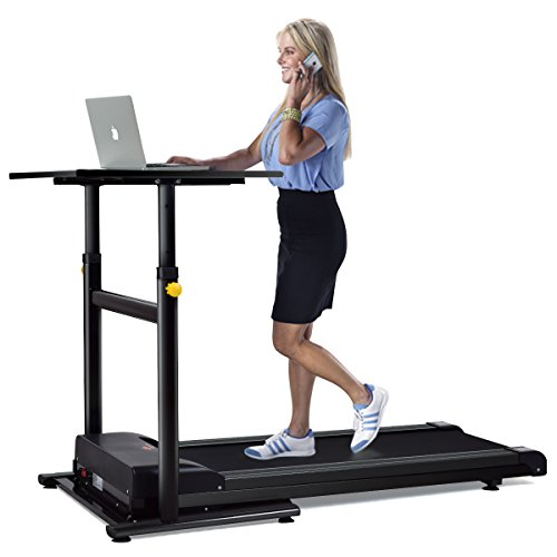 Goplus Treadmill Desk Standing Walking Treadmill Electric Machine W/Tabletop Height Adjustable Treadmill Workstation Perfect for Office & Home (Black)