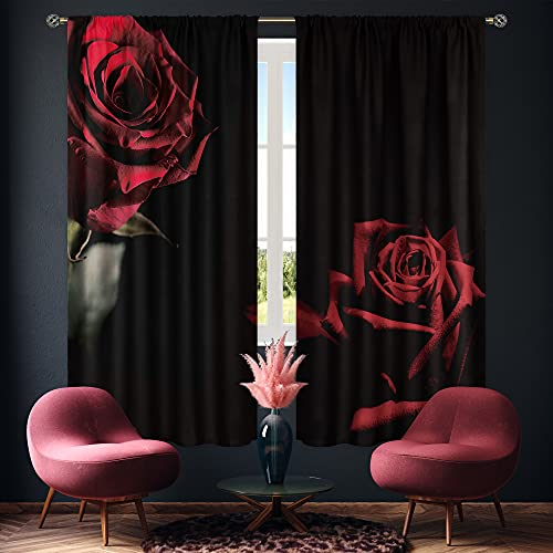 Cinbloo Red and Black Floral Curtains Rod Pocket Red Rose Curtain Panels Women Flower Bedroom Decor FemaleBurgundy Window Drapes Lover Romantic Living Room Window Treatment Fabric 42 (W) x 63(L) Inch
