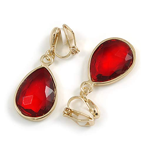 Gold Tone Teardrop Ruby Red Faceted Glass Stone Clip On Drop Earrings - 35mm L