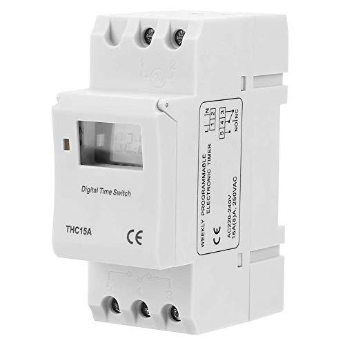 THC15A Relé de interruptor de temporizador programable de alimentación LCD digital, 20-240 VCA 16 A Interruptor de temporizador programable digital de carril DIN, Temporizador digital progra
