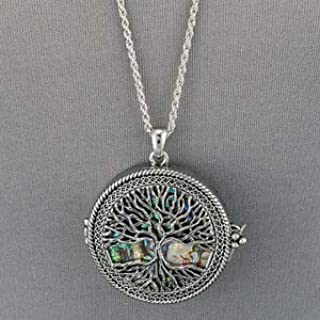 Silver Chain Tree of Life Clam Shell 5X Magnifying Glass Locket Pendant Necklace Fashion Jewelry for Women Man