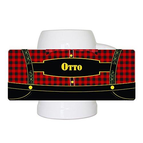 Bierkrug mit bayerischem Lederhosen-Motiv und Namen Otto personalisiert | Bier-Humpen | Bier-Seidel