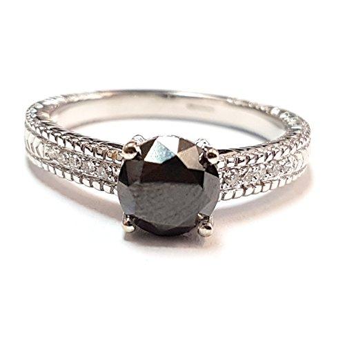 1.75carati bianco e nero diamante anello di fidanzamento, heavy oro bianco e oro bianco 9K, 56 (17.8), cod. ENG0170.8