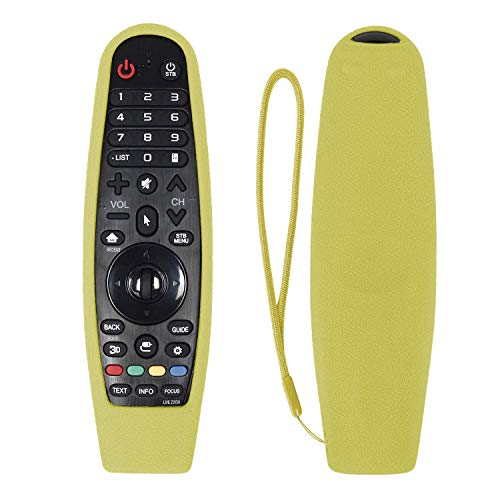 CHUNGHOP Protective Silicone Remote Case for LG AN-MR600/LG AN-MR650 AN-MR18BA Magic Remote Cover Remote Holder for LG 3D Smart TV Magic Remote Case (Yellow, Glow Green in The Dark)