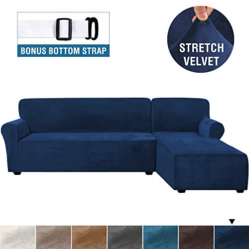 Rich Velvet Stretch 2 Pieces L-Shaped Sofa Covers Anti-Slip Sectional Sofa Slipcovers with Straps Bottom Luxury Thick Velvet Corner Sofa Cover(X-Large Size=Right Chaise with 3 Seater, Navy)