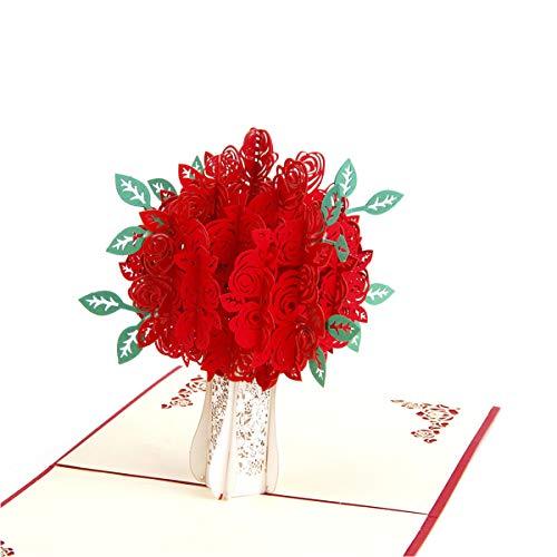 ENJOYPRO Rose Bouquet Pop Up Card, Valentines day card, Mothers day card, 3D Rose Bouquet Card, Rose Flower Greeting Card With Envelope For Valentine's day, Mother's day (3D Rose Bouquet, Pack of 1)
