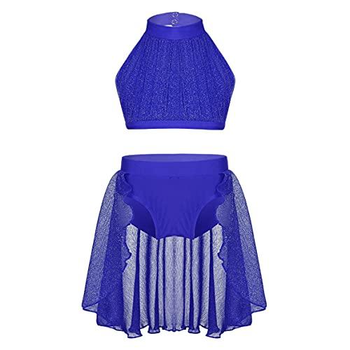 IEFIEL Vestido Brillante de Patinaje Artistico para Niña Vestido 2 Piezas Crop Top Cuello Halter+Falda Irregular de Baile Latino Vestido de Danza Ballet Azul 3-4 años