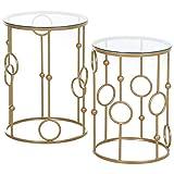 HOMCOM Tables gigognes Lot de 2 Tables Basses Rondes Design Style Art déco Ø 41 et Ø 36 cm métal doré Verre trempé...