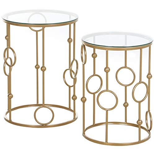 HOMCOM Tables gigognes Lot de 2 Tables Basses Rondes Design Style Art déco Ø 41 et Ø 36 cm métal doré Verre trempé 5 mm