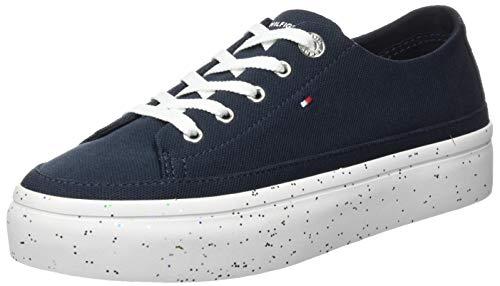 Tommy Hilfiger Damen Glitter Flatform Sneaker, Blau (Desert Sky Dw5), 41 EU