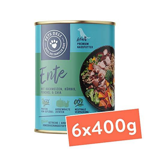 Hundefutter nass 2,4 kg - 6er-Pack | Ente mit Kürbis, Brokkoli, Chia & Fenchel