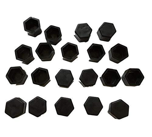 20 x coperture in silicone per bulloni ruota, di colore nero – tappi coprimozzo Tuning per auto – 17 mm 19 mm 21 mm SW17 SW19 SW21 a scelta