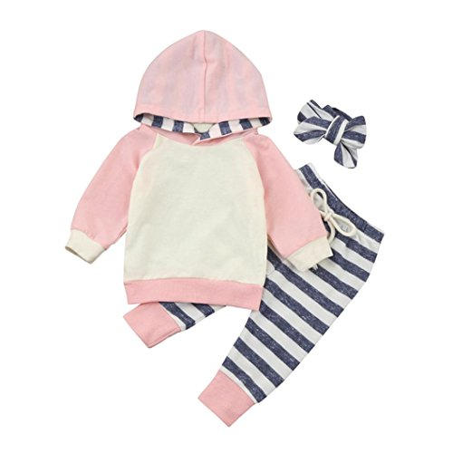 Vovotrade 3pcs Toddler Baby Outfits Boy Girl Clothes Set Hoodie Tops+Pants+Headband (12M, Pink)