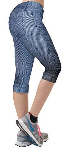 Hybrid & Company Women's Stretchy Denim Capri Jeans Q22886SK Blue/White 9