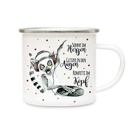 ilka parey wandtattoo-welt Emaillebecher Becher Tasse Camping Lemur AFFE Äffchen DJ & Spruch Konfetti im Kopf Kaffeetasse Geschenk Spruchecher eb304