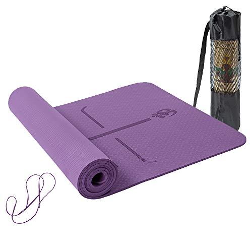 Lixada Esterilla de Yoga TPE Insípido con Línea de Posición Colchoneta de Yoga Alfombrilla de Yoga para Fitness Culturismo Pilates 183 * 61cm