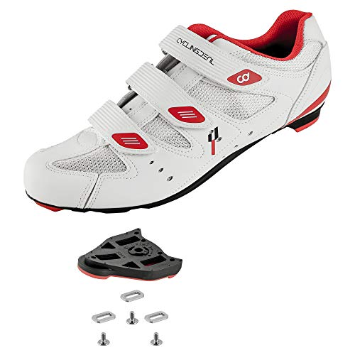 CyclingDeal Bicycle Road Bike Universal Cleat Mount Men's Cycling Shoes White with 9-Degree Floating Look ARC Delta Compatible Cleats Compatible with Peloton Indoor Bikes Pedals Size 50