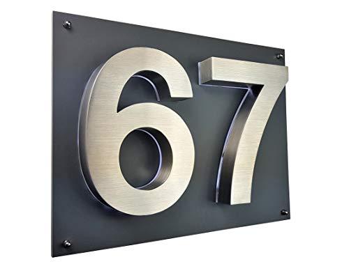 Lukadria LED Hausnummer 3D Edelstahl V2A Hausnummerschild Arial Hausschild beleuchtet ZWEISTELLIG 35cm x 28cm anthrazit