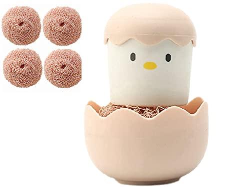CIVIKY Cepillo de limpieza de cocina con mango de pollo, soporte de cáscara de huevo, 4 bolas de repuesto (juego rosa)