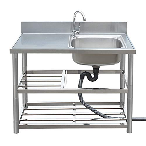 YJX Commercial Kitchen Sink, Household Stainless Steel Vegetable Washing Sink, Water Retaining Plate and Double Tool Holder Design, Three-Layer Bracket