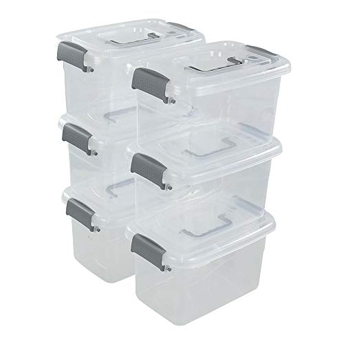 Qsbon 5 L Plastic Latch Storage Box, Clear Containers with Lids, 6-Pack