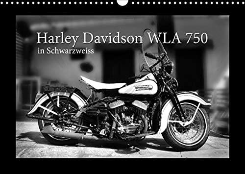 Harley Davidson WLA 750 in Schwarzweiss (Wandkalender 2022 DIN A3 quer)