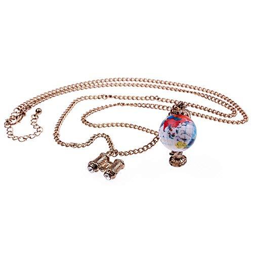 Globus mit Fernglas Halskette - ca. 70cm lange Kette - Anhänger drehbare Weltkugel Reisen