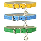 3 Pieces Leather Cat Collar, Cat Collars with Bells Cat Bells for Collar Cat Collar with Elastic Strap Safety Collar for Dogs Cats Kitten (Green Yellow Blue)