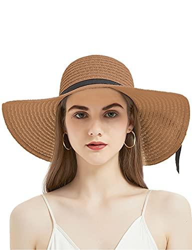 Geschallino Mujeres Panama Sombrero de Paja de ala Ancha con Lazo Ligero para el Verano Sombrero de Playa UV UPF50+, Marrón