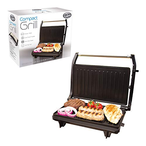 Quest 34340 Compact Twin Panini Press and Grill Floating Hinge, Stainless Steel, 750W, Black,